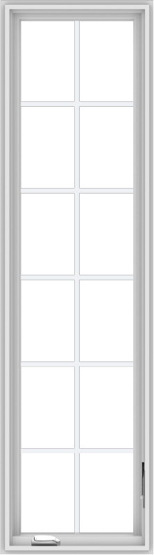 WDMA 20x72 (19.5 x 71.5 inch) White Vinyl uPVC Crank out Casement Window with Colonial Grids