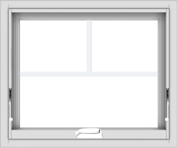 WDMA 24x20 (23.5 x 19.5 inch) White Vinyl uPVC Crank out Awning Window with Fractional Grilles