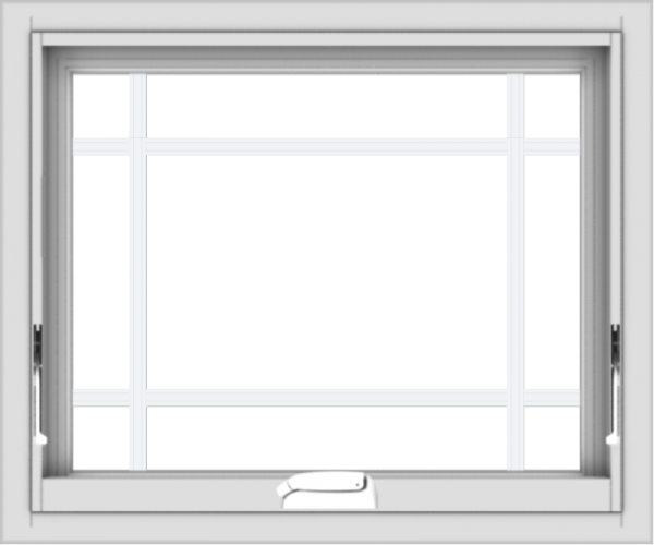 WDMA 24x20 (23.5 x 19.5 inch) White Vinyl uPVC Crank out Awning Window with Prairie Grilles
