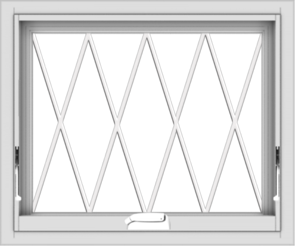 WDMA 24x20 (23.5 x 19.5 inch) White Vinyl uPVC Crank out Awning Window without Grids with Diamond Grills