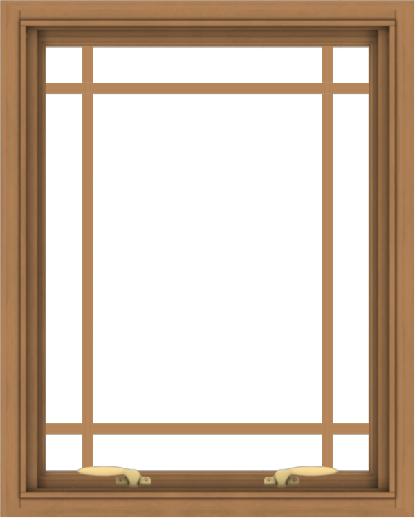 WDMA 24x30 (23.5 x 29.5 inch) Oak Wood Green Aluminum Push out Awning Window with Prairie Grilles