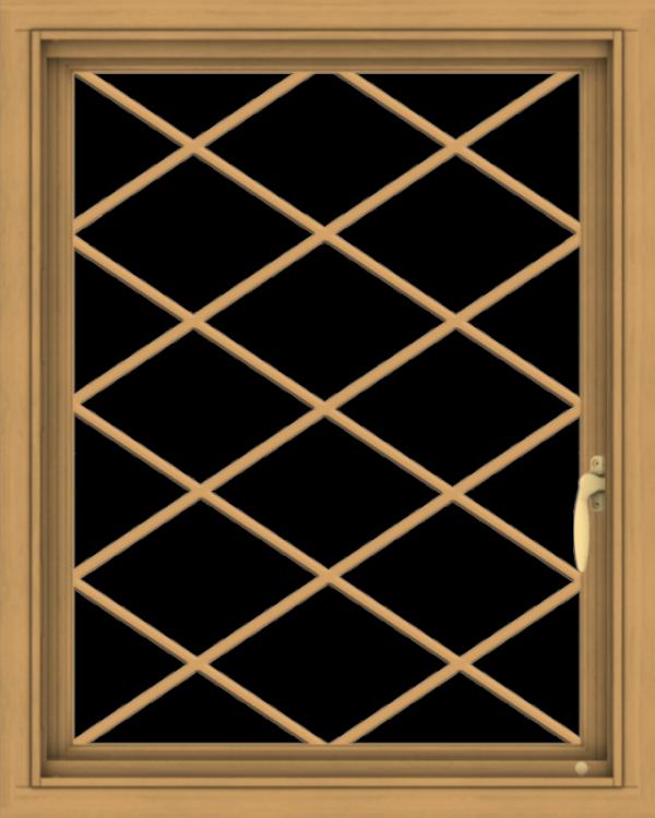 WDMA 24x30 (23.5 x 29.5 inch) Pine Wood Light Grey Aluminum Push out Casement Window  with Diamond Grills