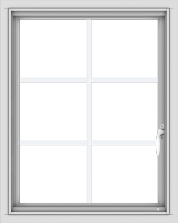 WDMA 24x30 (23.5 x 29.5 inch) Vinyl uPVC White Push out Casement Window with Colonial Grids