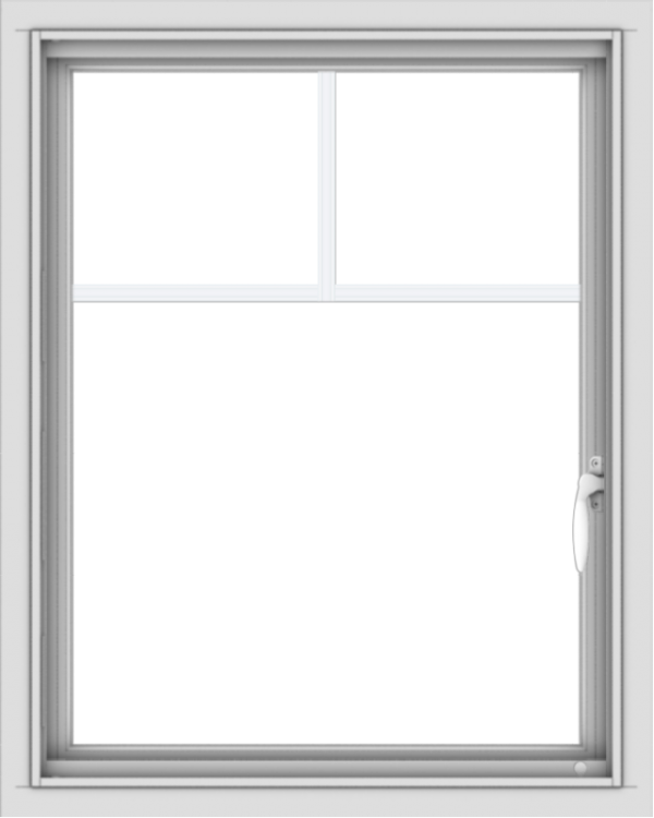 WDMA 24x30 (23.5 x 29.5 inch) Vinyl uPVC White Push out Casement Window with Fractional Grilles