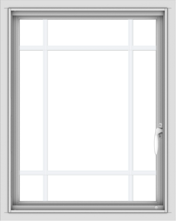 WDMA 24x30 (23.5 x 29.5 inch) Vinyl uPVC White Push out Casement Window with Prairie Grilles