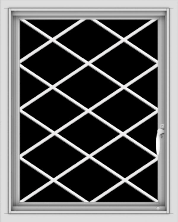 WDMA 24x30 (23.5 x 29.5 inch) Vinyl uPVC White Push out Casement Window  with Diamond Grills