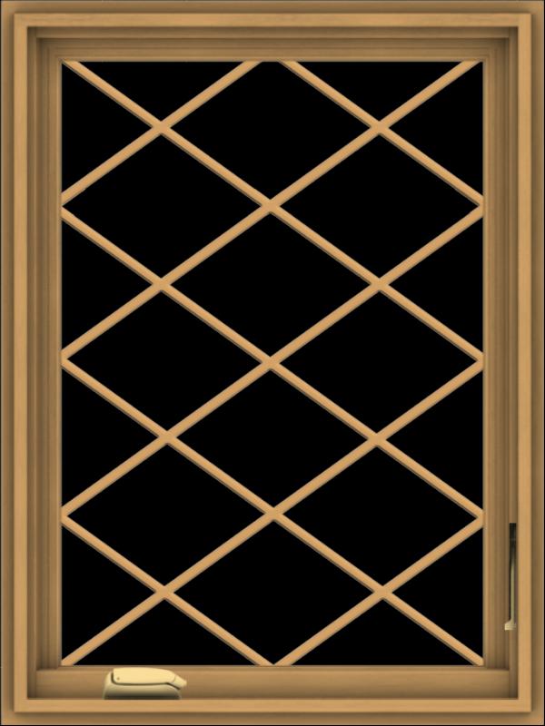 WDMA 24x32 (23.5 x 31.5 inch) Pine Wood Dark Grey Aluminum Crank out Casement Window  with Diamond Grills