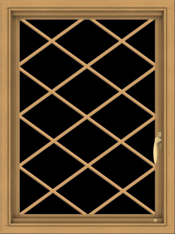 WDMA 24x32 (23.5 x 31.5 inch) Pine Wood Light Grey Aluminum Push out Casement Window  with Diamond Grills