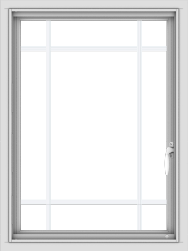 WDMA 24x32 (23.5 x 31.5 inch) Vinyl uPVC White Push out Casement Window with Prairie Grilles