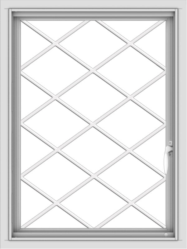 WDMA 24x32 (23.5 x 31.5 inch) Vinyl uPVC White Push out Casement Window  with Diamond Grills