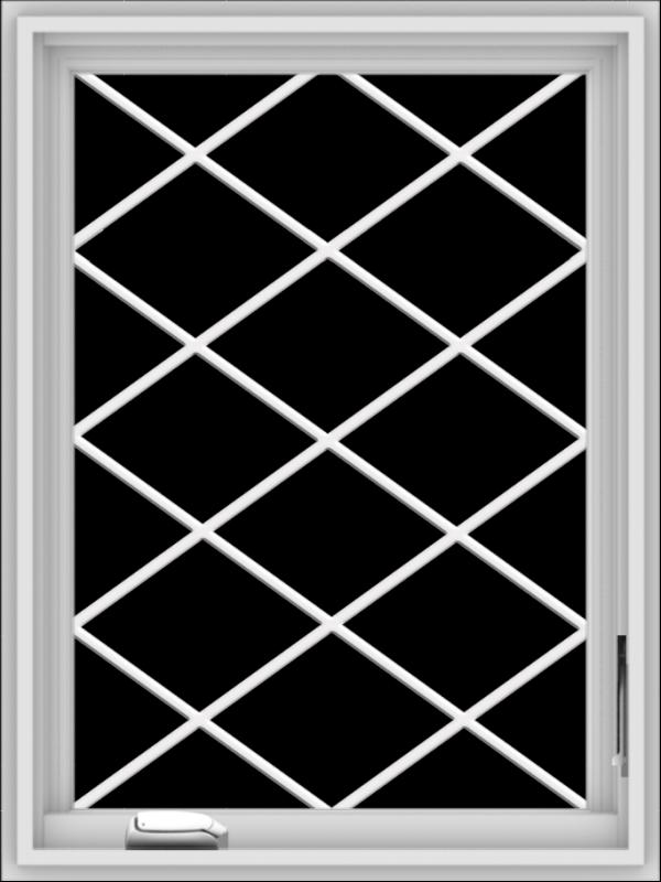WDMA 24x32 (23.5 x 31.5 inch) White Vinyl uPVC Crank out Casement Window  with Diamond Grills