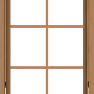 WDMA 24x36 (23.5 x 35.5 inch) Oak Wood Dark Brown Bronze Aluminum Crank out Awning Window with Colonial Grids Interior