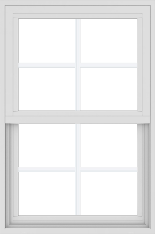 WDMA 24x36 (17.5 x 35.5 inch) Vinyl uPVC White Single Hung Double Hung Window with Colonial Grids Exterior