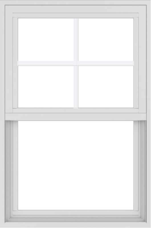 WDMA 24x36 (23.5 x 35.5 inch) Vinyl uPVC White Single Hung Double Hung Window with Top Colonial Grids Exterior