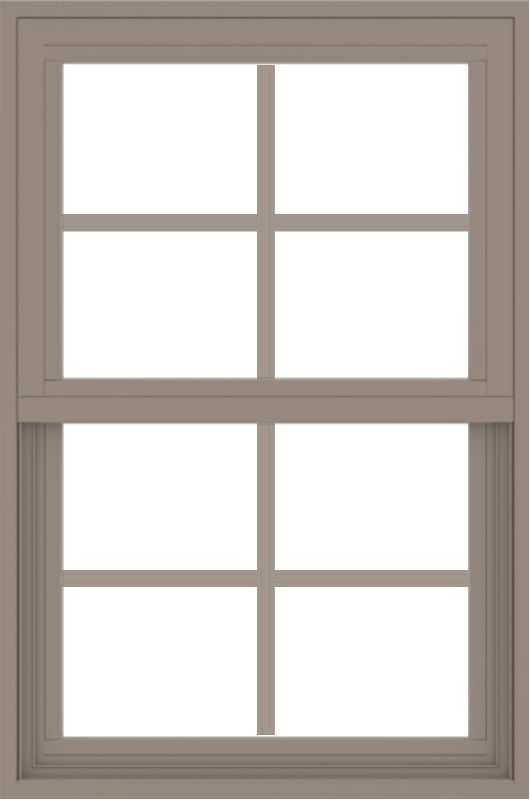WDMA 24x36 (23.5 x 35.5 inch) Vinyl uPVC Brown Single Hung Double Hung Window with Colonial Grids Exterior