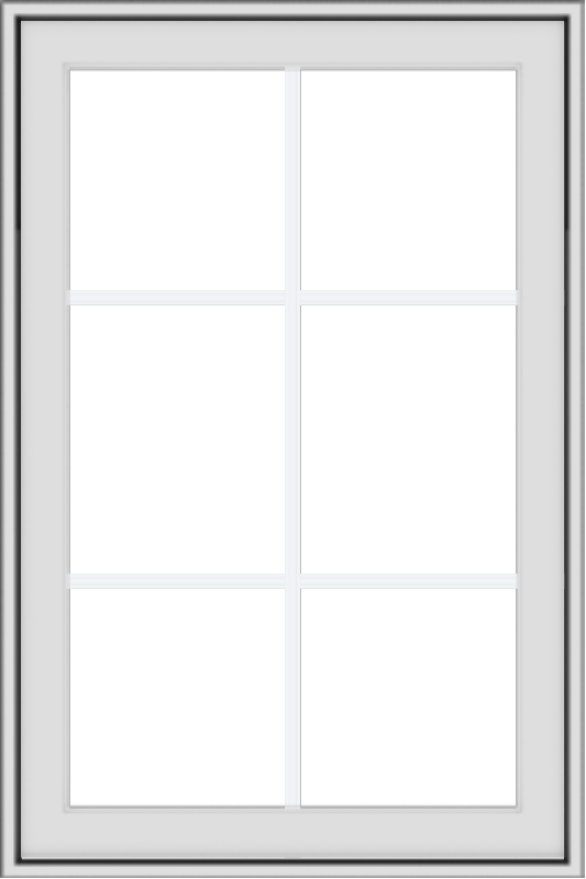 WDMA 24x36 (23.5 x 35.5 inch) White Vinyl uPVC Crank out Awning Window with Colonial Grids Exterior