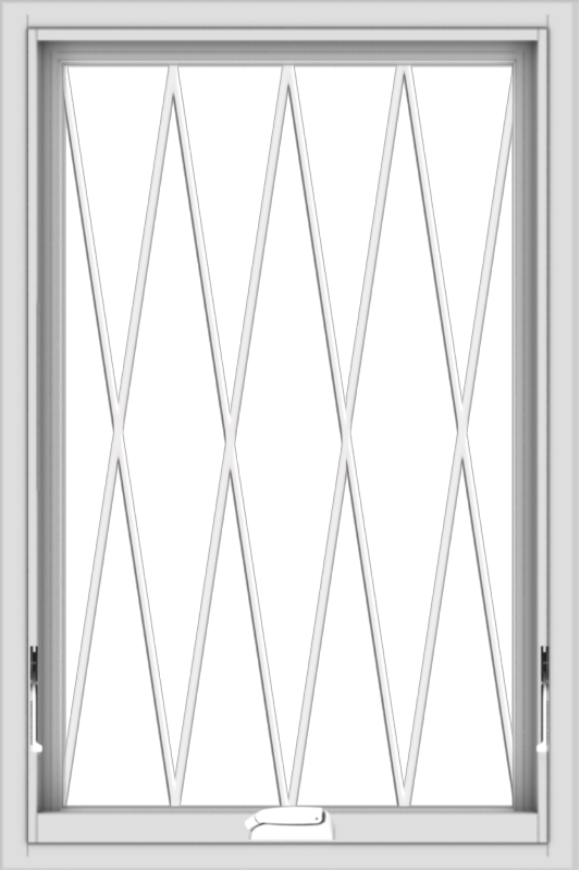WDMA 24x36 (23.5 x 35.5 inch) White Vinyl uPVC Crank out Awning Window without Grids with Diamond Grills