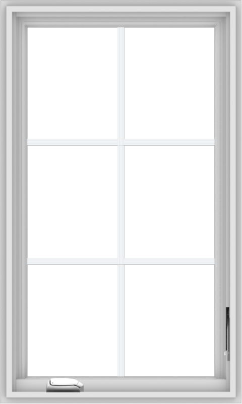 WDMA 24x40 (23.5 x 39.5 inch) White Vinyl uPVC Crank out Casement Window with Colonial Grids