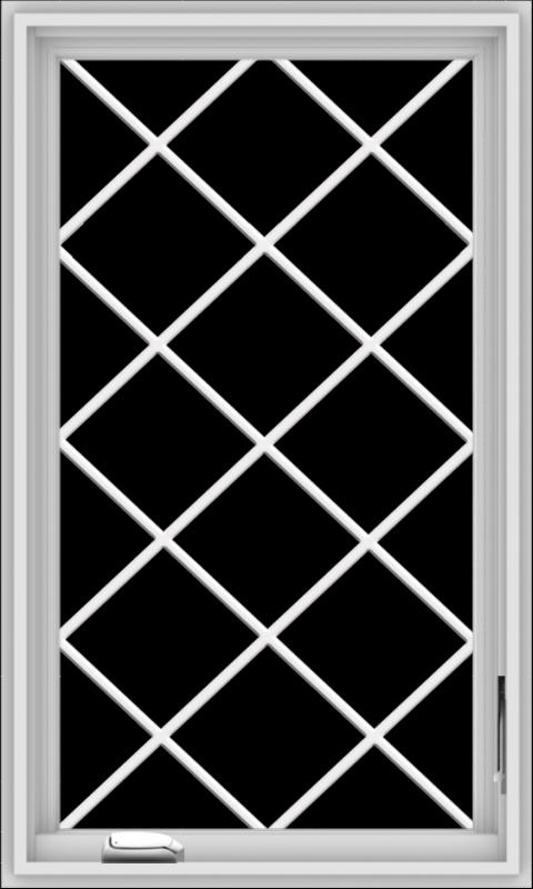 WDMA 24x40 (23.5 x 39.5 inch) White Vinyl uPVC Crank out Casement Window  with Diamond Grills