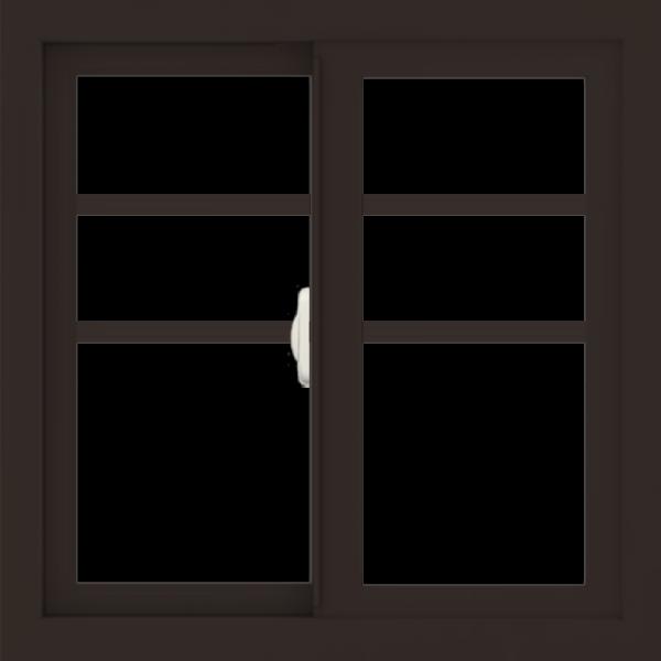 WDMA 24x24 (23.5 x 23.5 inch) Dark Bronze Aluminum Slide Window with Top Colonial Grids