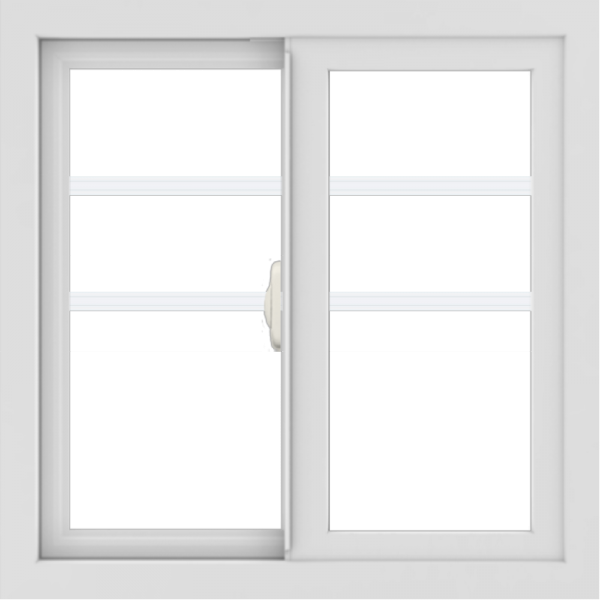 WDMA 24x24 (23.5 x 23.5 inch) black uPVC/Vinyl Slide Window with Top Colonial Grids Exterior