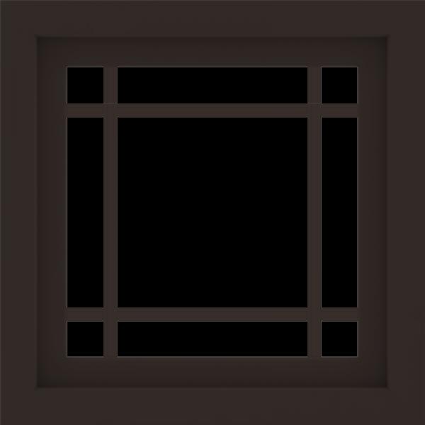 WDMA 24x24 (23.5 x 23.5 inch) Dark Bronze Aluminum Slide Window with Prairie Grilles