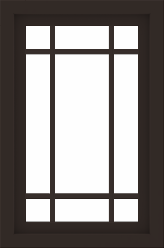 WDMA 24x36 (23.5 x 35.5 inch) Dark Bronze aluminum Picture Window with Prairie Grilles