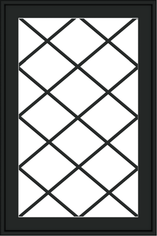 WDMA 24x36 (23.5 x 35.6 inch) black uPVC/Vinyl Push out Casement Window with Diamond Grids Exterior