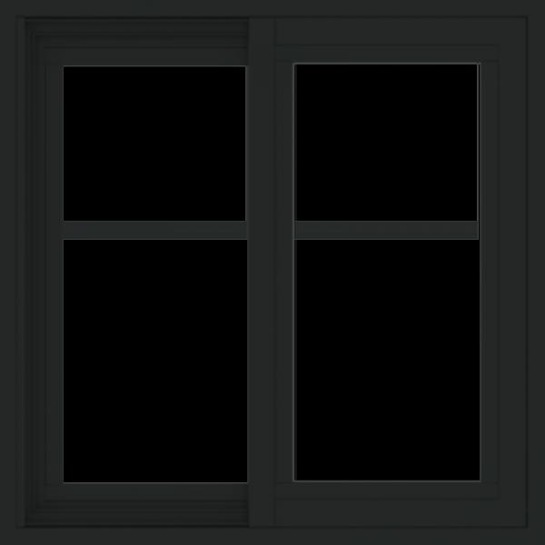 WDMA 24x24 (23.5 x 23.5 inch) black uPVC/Vinyl Slide Window with Fractional Grilles Exterior