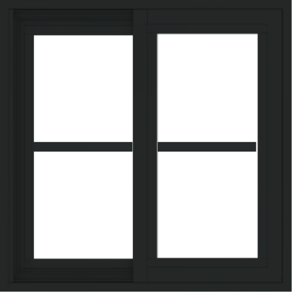 WDMA 24x24 (23.5 x 23.5 inch) black uPVC/Vinyl Slide Window with Colonial Grilles Exterior