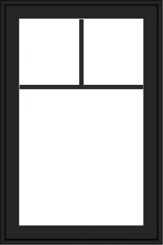 WDMA 24x36 (23.5 x 35.6 inch) black uPVC/Vinyl Push out Casement Window with Fractional Grilles Exterior