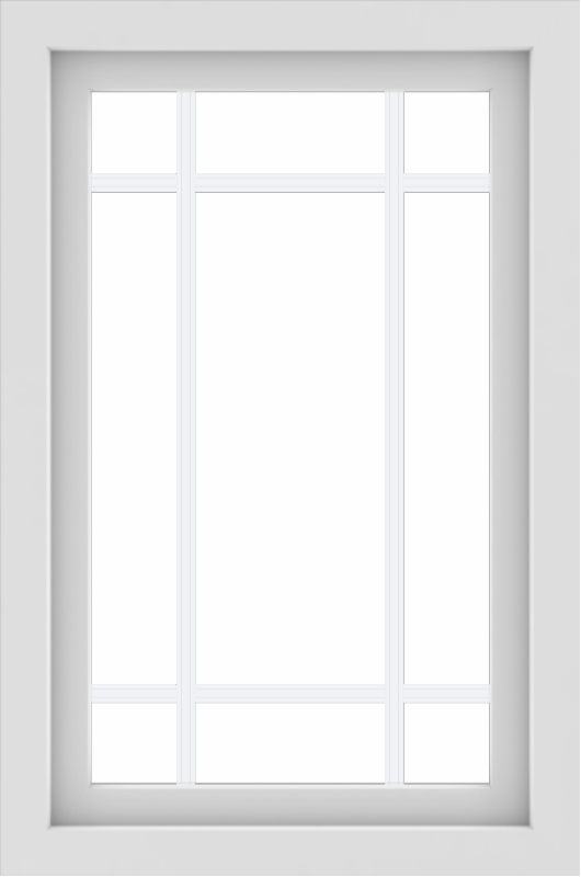 WDMA 24x36 (23.5 x 35.5 inch) black uPVC/Vinyl Picture Window with Prairie Grilles Exterior