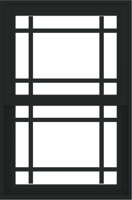 WDMA 24x36 (23.5 x 35.6 inch) black uPVC/Vinyl Single and Double Hung Window with Prairie Grilles Exterior