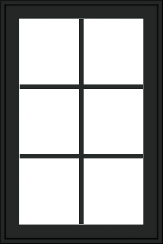 WDMA 24x36 (23.5 x 35.6 inch) black uPVC/Vinyl Push out Casement Window with Colonial Grilles Exterior
