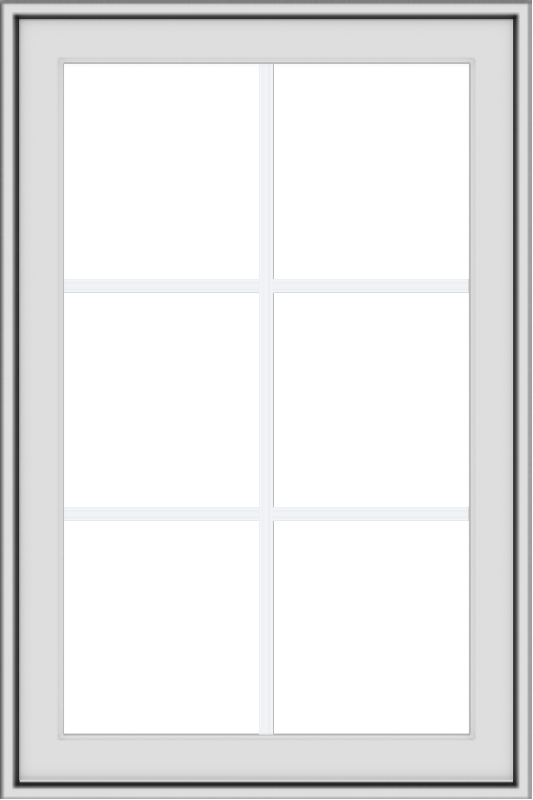 WDMA 24x36 (23.5 x 35.5 inch) black uPVC/Vinyl Push out Awning Window with Colonial Grilles Interior