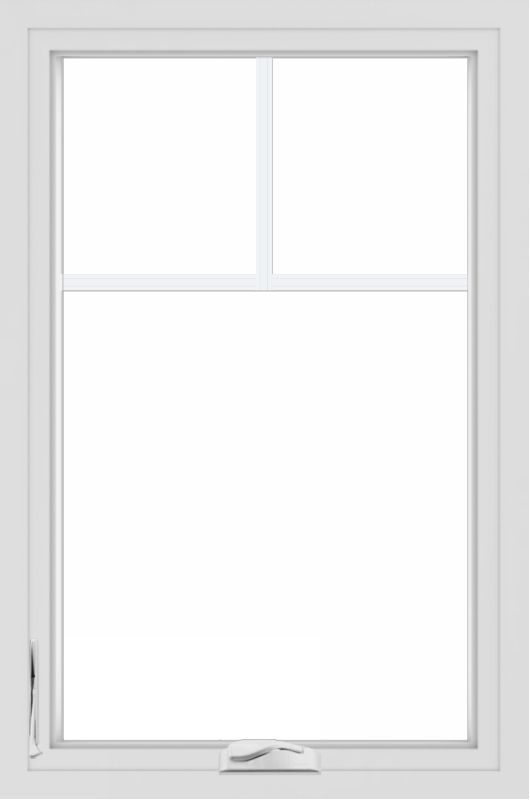 WDMA 24x36 (24.5 x 36.5 inch) White uPVC/Vinyl Crank out Casement Window with Fractional Grilles
