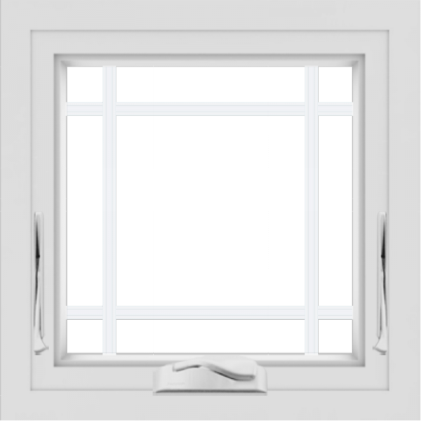 WDMA 24x24 (23.5 x 23.5 inch) black uPVC/Vinyl Crank out Awning Window with Prairie Grilles Interior