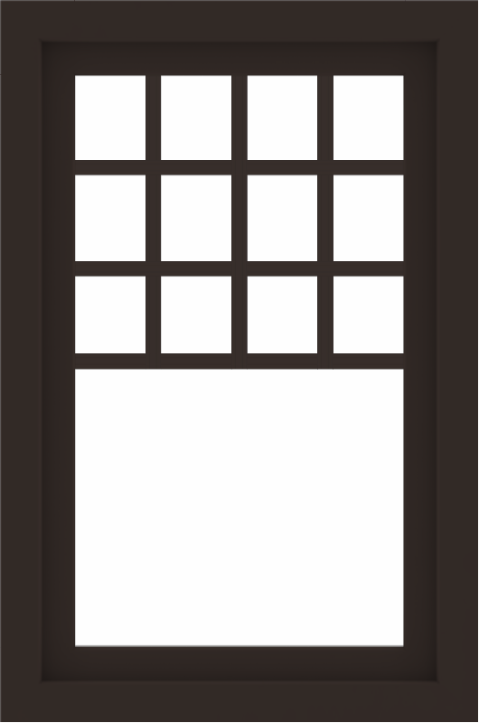 WDMA 24x36 (23.5 x 35.5 inch) Dark Bronze aluminum Picture Window with Top Colonial Grids