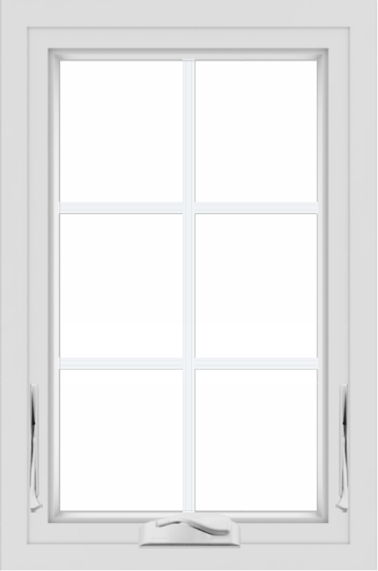 WDMA 24x36 (23.5 x 35.5 inch) black uPVC/Vinyl Crank out Awning Window with Colonial Grilles Interior