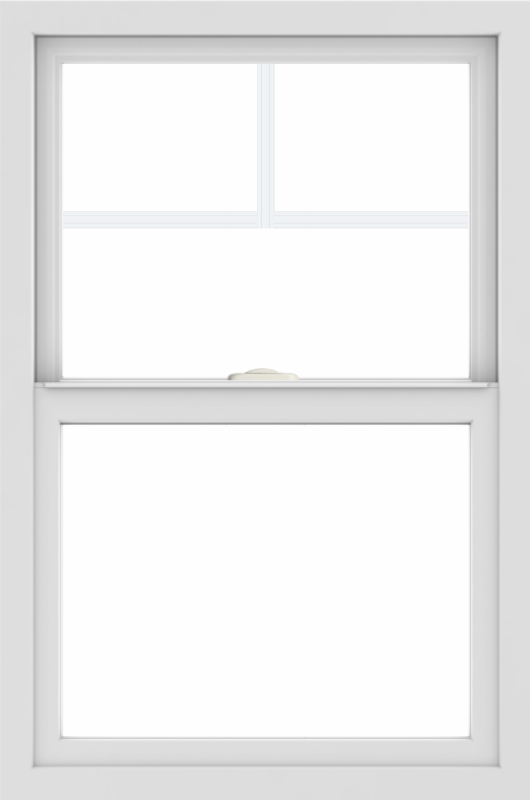 WDMA 24x36 (23.5 x 35.5 inch) black uPVC/Vinyl Single and Double Hung Window with Fractional Grilles Interior