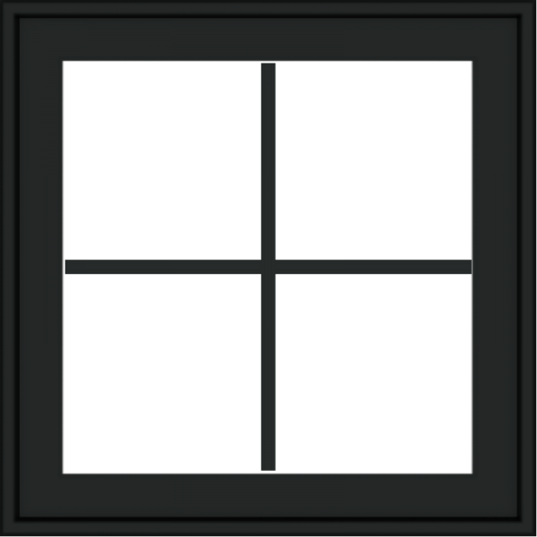 WDMA 24x24 (23.5 x 23.5 inch) black uPVC/Vinyl Crank out Awning Window with Colonial Grilles Exterior