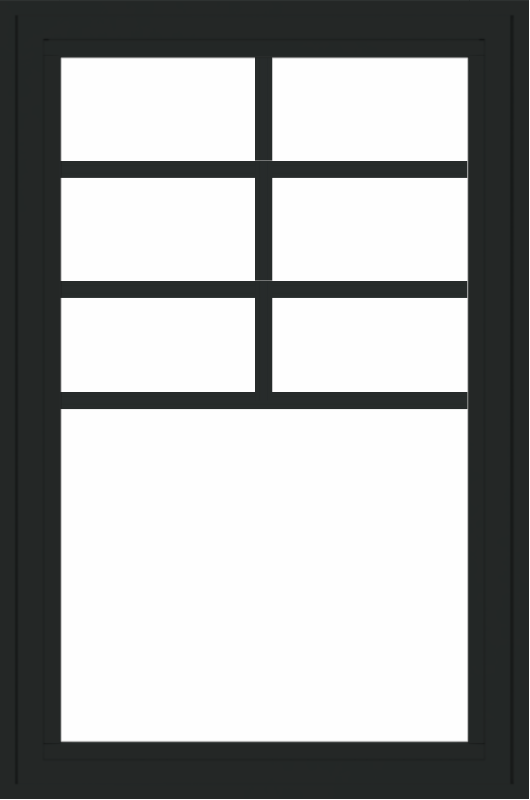 WDMA 24x36 (23.5 x 35.6 inch) black uPVC/Vinyl Crank out Awning Window with Top Colonial Grids Exterior