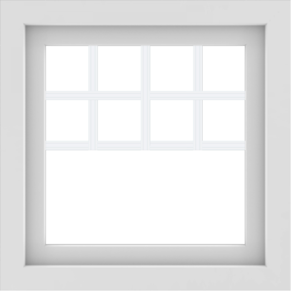 WDMA 24x24 (23.5 x 23.5 inch) White Aluminum Picture Window with Top Colonial Grids