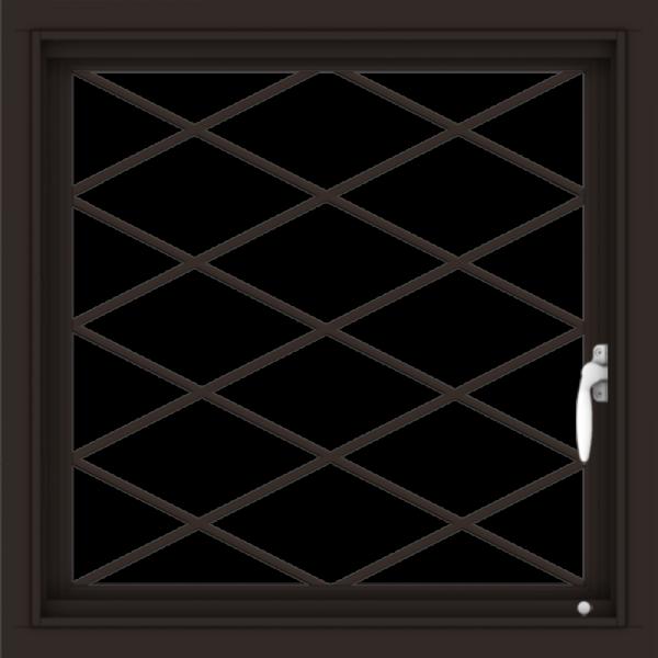 WDMA 24x24 (23.5 x 23.5 inch) Dark Bronze Aluminum Push out Casement Window with Diamond Grids