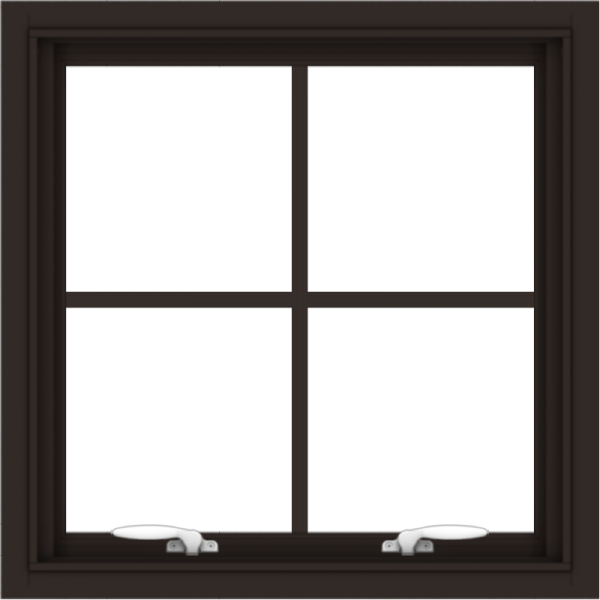 WDMA 24x24 (23.5 x 23.5 inch) Dark Bronze Aluminum Push out Awning Window with Colonial Grilles