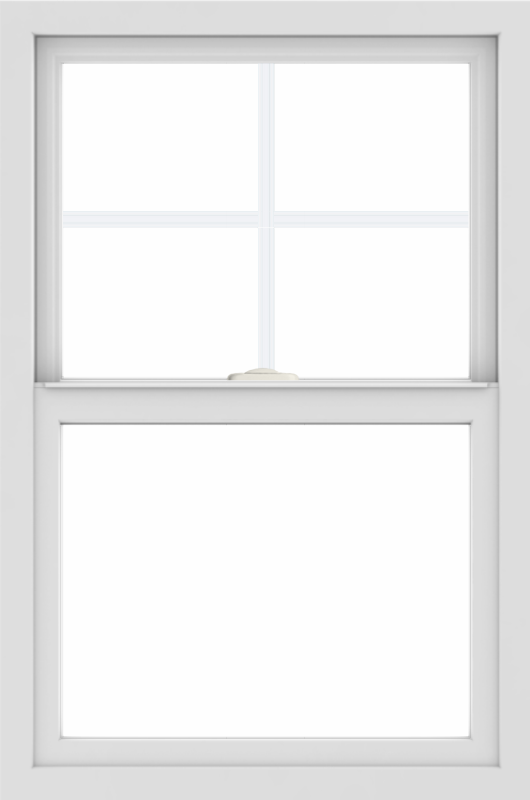 WDMA 24x36 (23.5 x 35.5 inch) black uPVC/Vinyl Single and Double Hung Window with Top Colonial Grids Interior