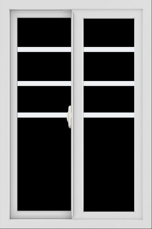 WDMA 24x36 (23.5 x 35.5 inch) black uPVC/Vinyl Slide Window with Top Colonial Grids Interior