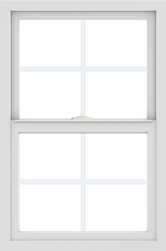 WDMA 24x36 (23.5 x 35.5 inch) black uPVC/Vinyl Single and Double Hung Window with Colonial Grilles Interior