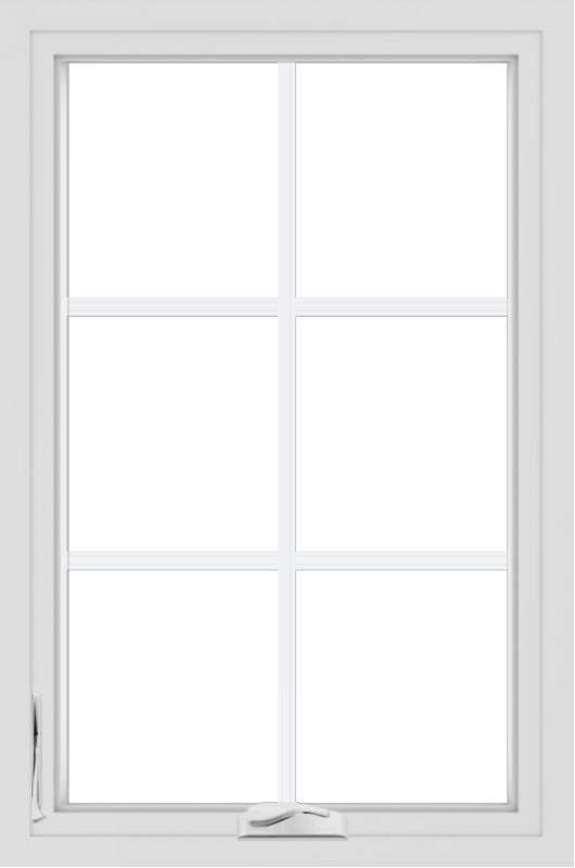 WDMA 24x36 (24.5 x 36.5 inch) White uPVC/Vinyl Crank out Casement Window with Colonial Grilles
