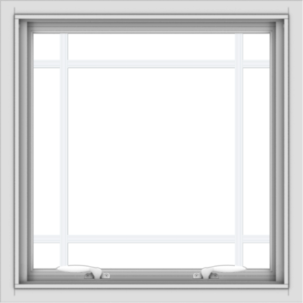 WDMA 24x24 (23.5 x 23.5 inch) White Aluminum Push out Awning Window with Prairie Grilles